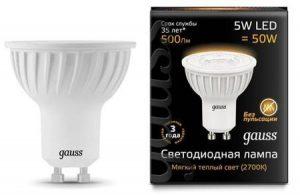 lampa gauss gu10 5vt 2700k 300x195 -купить строймаркет молоток Подольск, Чехов, Климовск, Щербинка, Троицк, Кузнечики